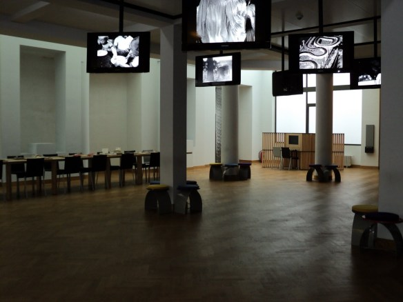 The exhibition space and reading room inside Brussels' Cinematek