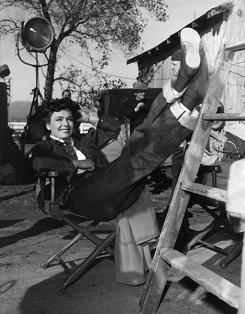 Ruth Roman relaxing on the set of Tomorrow is Another Day (1951)