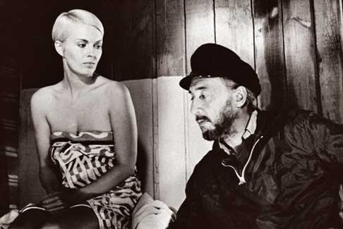 Jean Seberg & husband director Romain Gary on the set of Birds in Peru (1968)