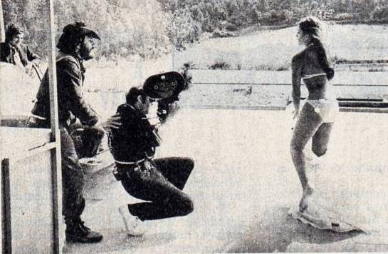 Ana Belen being filmed for a scene in Morbo (1972)
