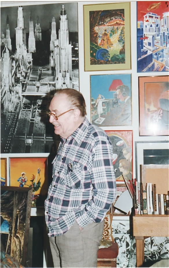 Forry Ackerman at his home in Los Angeles on Glendower Avenue (1998) photo by J. Stafford