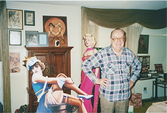 Forry Ackerman in his guest room at the Ackermansion (1998) photo by J.Stafford
