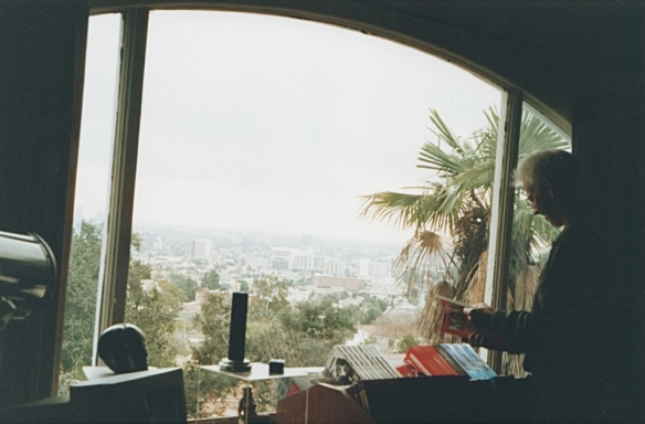 The view from Forry Ackerman's study at his Los Angeles home on Glendower Avenue (1998) photo by B. Boston