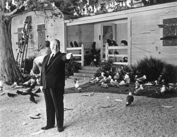 Alfred Hitchcock on the set of THE BIRDS
