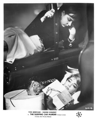 Simone Signoret (bottom) in The Sleeping Car Murders (1965)