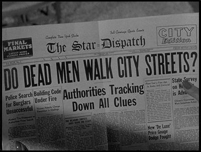 A typical newspaper headline from CREATURE WITH THE ATOM BRAIN (1955).
