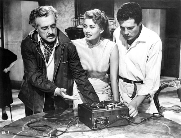 Vittorio De Sica (left), Sophia Loren, Marcello Mastroianni in TOO BAD SHE'S BAD (1955)