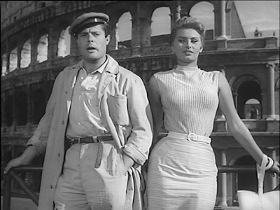 Marcello Mastroianni and Sophia Loren in TOO BAD SHE'S BAD, filmed on location in Rome