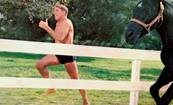 Place your bets. Burt Lancaster vs. a horse (from THE SWIMMER, 1968)