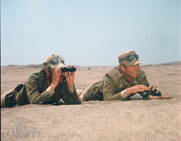 Nigel Davenport (with binoculars), Michael Caine in PLAY DIRTY (1969)