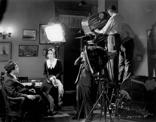 Behind the scenes on the set of FIVE STAR FINAL (1931) starring Edward G. Robinson (far left)