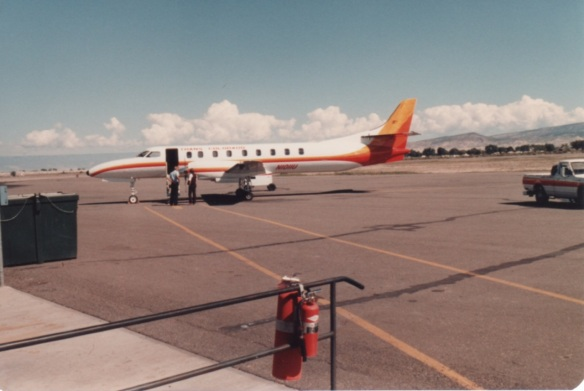 The shuttle plane that serves the area between Denver and Montrose, Colorado (photo by Jeff Stafford, 1981)
