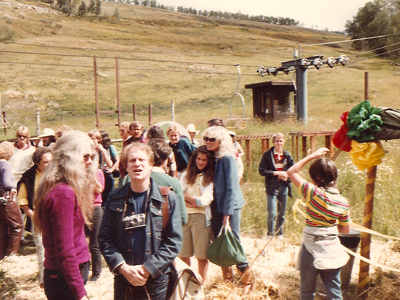 Susan Anspach (center, looking off to the left) and her daughter at the 8th Telluride Film Festival (1981, photo by Jeff Stafford)