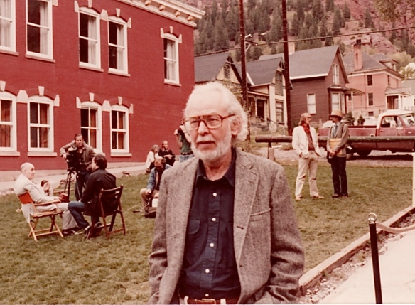 Experimental filmmaker John Whitney Sr. at the 8th Telluride Film Festival. Film historian William K. Iverson in background on right (1981, photo by Jeff Stafford)