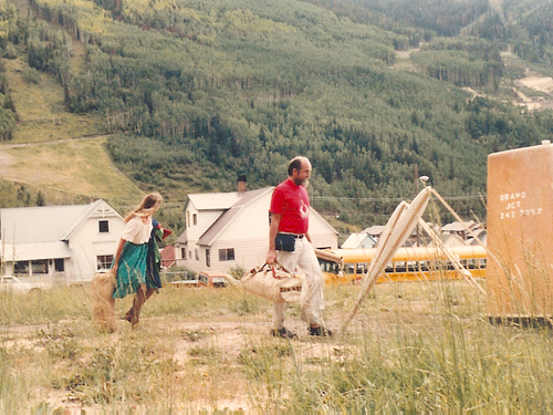Les Blank and companion on his way to screen a new film at the 8th Telluride Film Festival (1981, photo by Jeff Stafford)