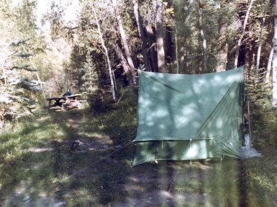 My tent before the rains came at the campgrounds at Telluride's Town Park (1981, photo by Jeff Stafford)
