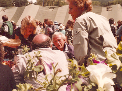 Directors Sam Fuller (center), Francesco Rosi (back to camera) and Nelly Kaplan (right) at the 8th Telluride Film Festival (1981, photo by Jeff Stafford)