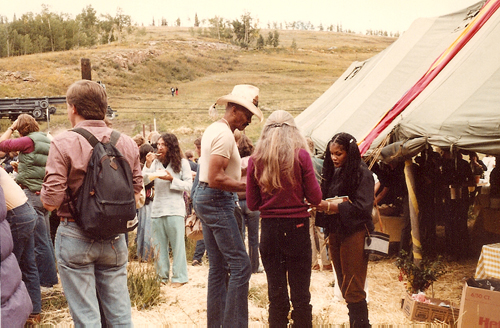 Woody Strode (in hat) and his wife on the right (facing him) at the Labor Day picnic at the 8th Telluride Film Festival (1981, photo by Jeff Stafford)