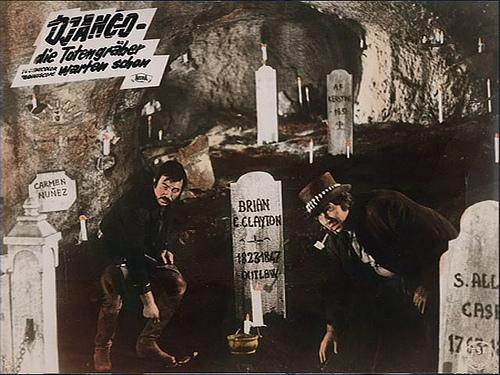 The underground cemetery in Johnny Hamlet (1968)