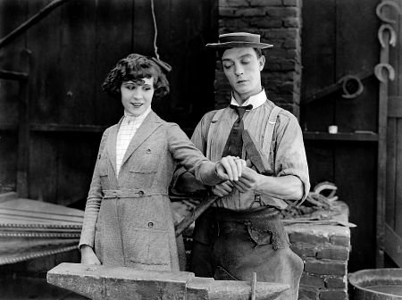 Virginia Fox (who became the wife of Fox mogul Darryl F. Zanuck) and Buster Keaton in The Blacksmith (1922)