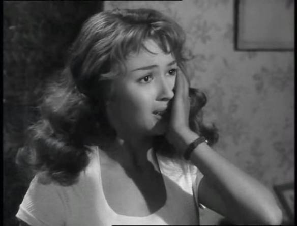 Dany Carrel as the daughter of truck drive Jean Gabin in the French melodrama, People of No Importance (Des gens sans importance), directed by Henri Verneuil.