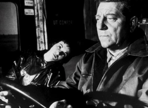 Francoise Arnoul and Jean Gabin in Henri Verneuil's moody road movie, Des gens sans importance (1956).