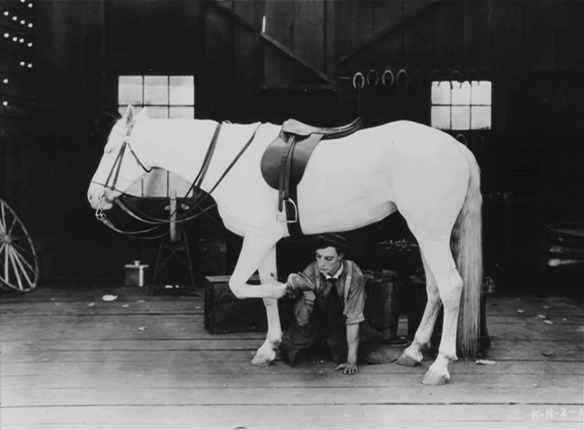 Buster Keaton in the two-reeler The Blacksmith (1922)