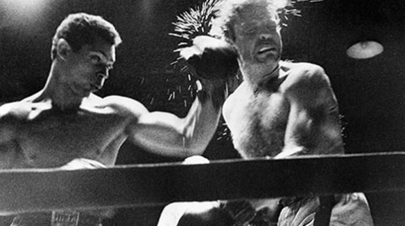 Walter Cartier slams Bobby James at Laurel Gardens in Newark, NJ on April 17, 1950