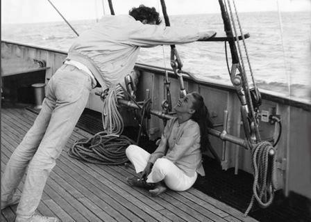Director Tony Richardson and Jeanne Moreau on the set of The Sailor from Gibraltar (1967)
