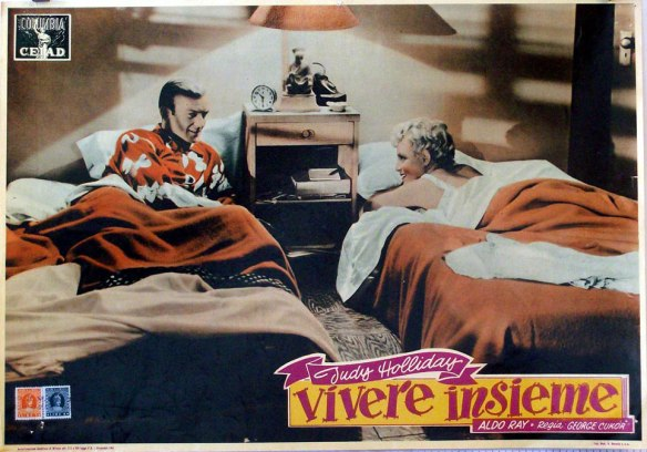 An Italian lobby card in color of the black and white George Cukor film, The Marrying Kind (1952)