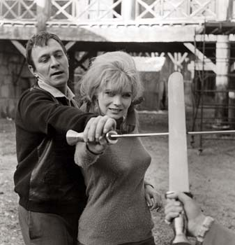 Christopher Plummer with his swordfight coach Lena Von Martens on the set of The Fall of the Roman Empire