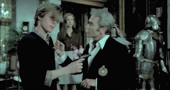 John Moulder-Brown (left) has the gun but he doesn't have control in Forbidden Love Game (1975)