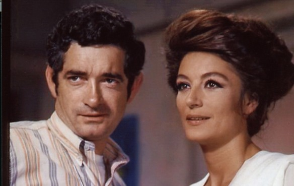 Director Jacques Demy and Anouk Aimée on the set of Model Shop (1969)