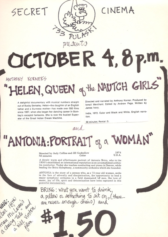 Secret Cinema program Oct. 4 1980