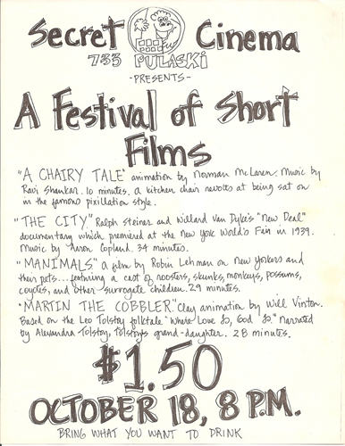 Secret Cinema program Oct. 1980