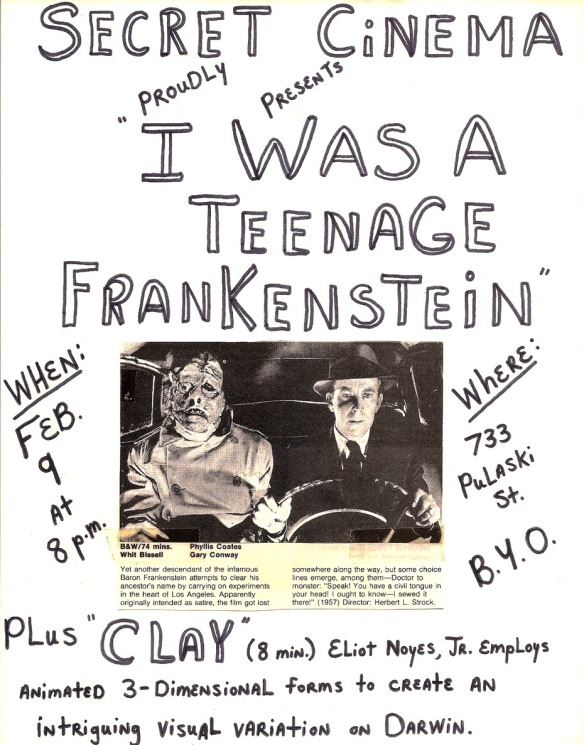 The debut program of Secret Cinema and my crudely designed flyer