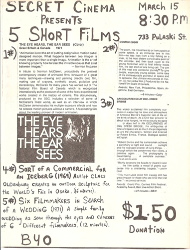 Secret Cinema program, March 1980