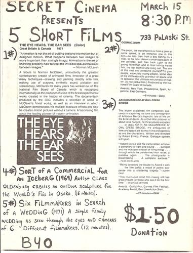 Secret Cinema program, March 1980