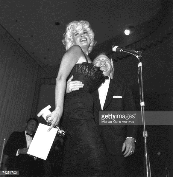 The infamous Jayne Mansfield-Mickey Rooney meet-up at a Foreign Press Awards ceremony