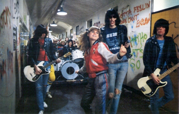 P.J. Soles (center) and The Ramones in Rock 'n' Roll High School (1979)