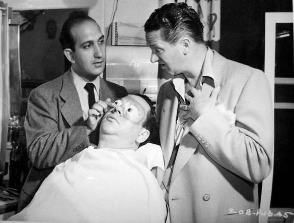 Wally Brown (in makeup chair), Alan Carney on the right