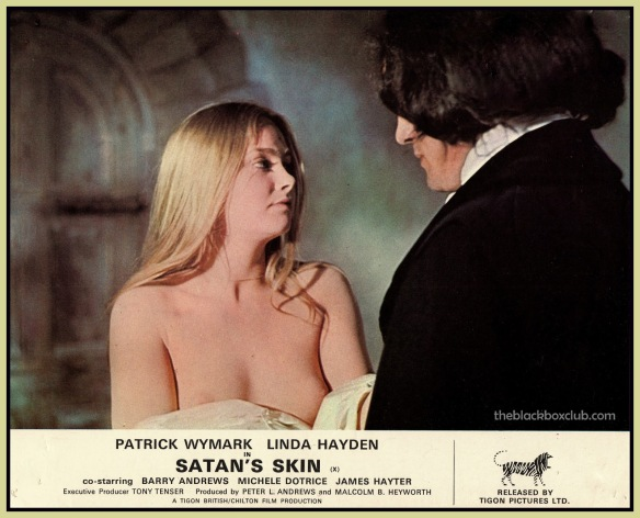 Angel (Linda Hayden) attempts to seduce the village priest (Anthony Ainley) in The Blood on Satan's Claw