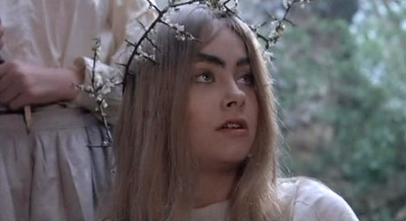 Linda Hayden as Angel Blake becomes more demonic in appearance as the movie progresses.