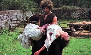 Ralph Gower (Barry Andrews) carries the body of Cathy Vespers (Wendy Padbury) in a scene from The Blood on Satan's Claw (1971)
