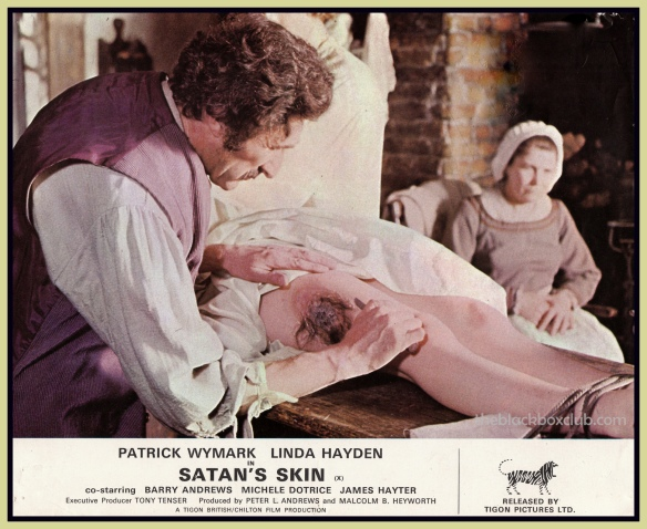 A doctor attempts to remove a patch of Satan's skin from a cult member in this grisly scene