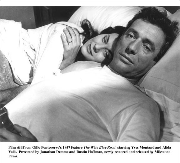 Yves Montand & Alida Valli in The Wide Blue Road (1957).