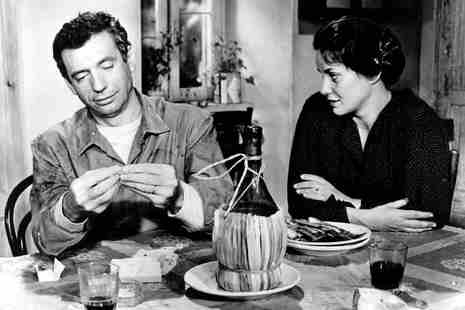 Yves Montand and Alida Valli in The Wide Blue Road (1957)