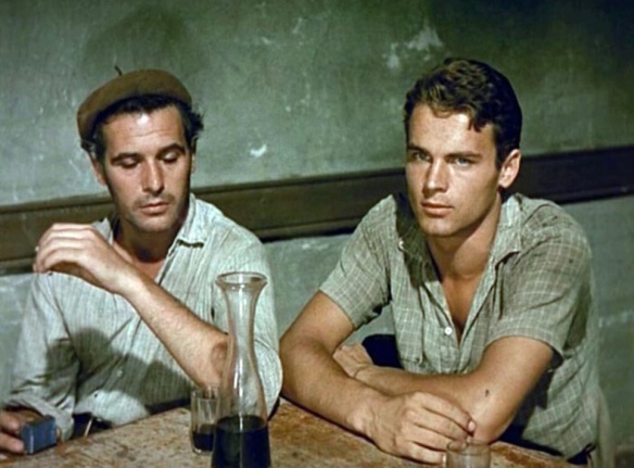 Francisco Rabal (left) & Mario Girotti (aka Terence Hill) in The Wide Blue Road (1957)