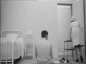 Jacques (Charles Denner) becomes absorbed by his stripped-down, all white existence in Life Upside Down (1964).