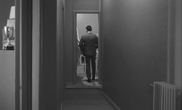 jacques (Charles Denner) imagines the world as a long empty corridor with closed doors in Life Upside Down (1964).